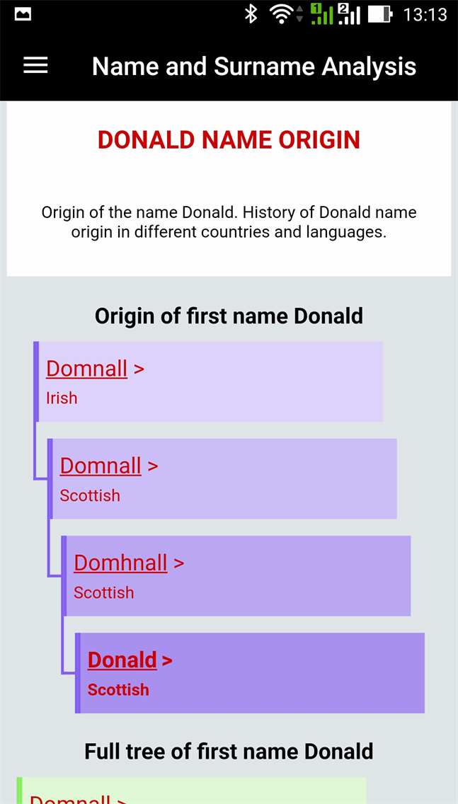 Name and Surname Analysis